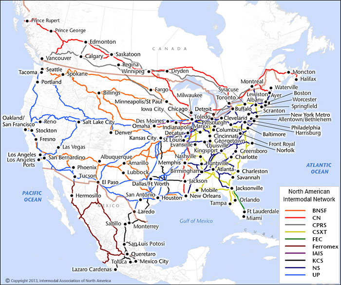 intermodal railroad network map