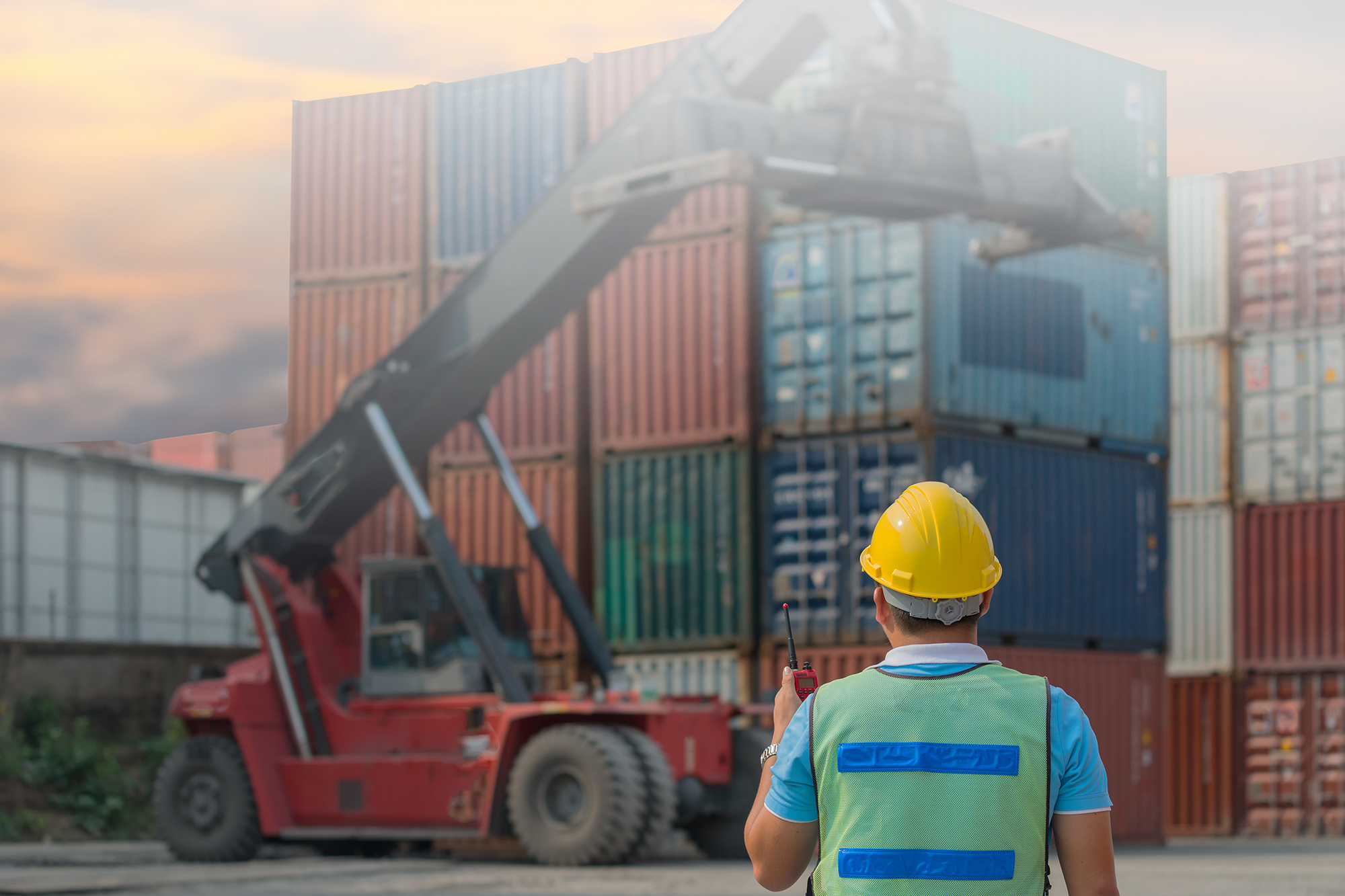 Loader Loading Intermodal Containers