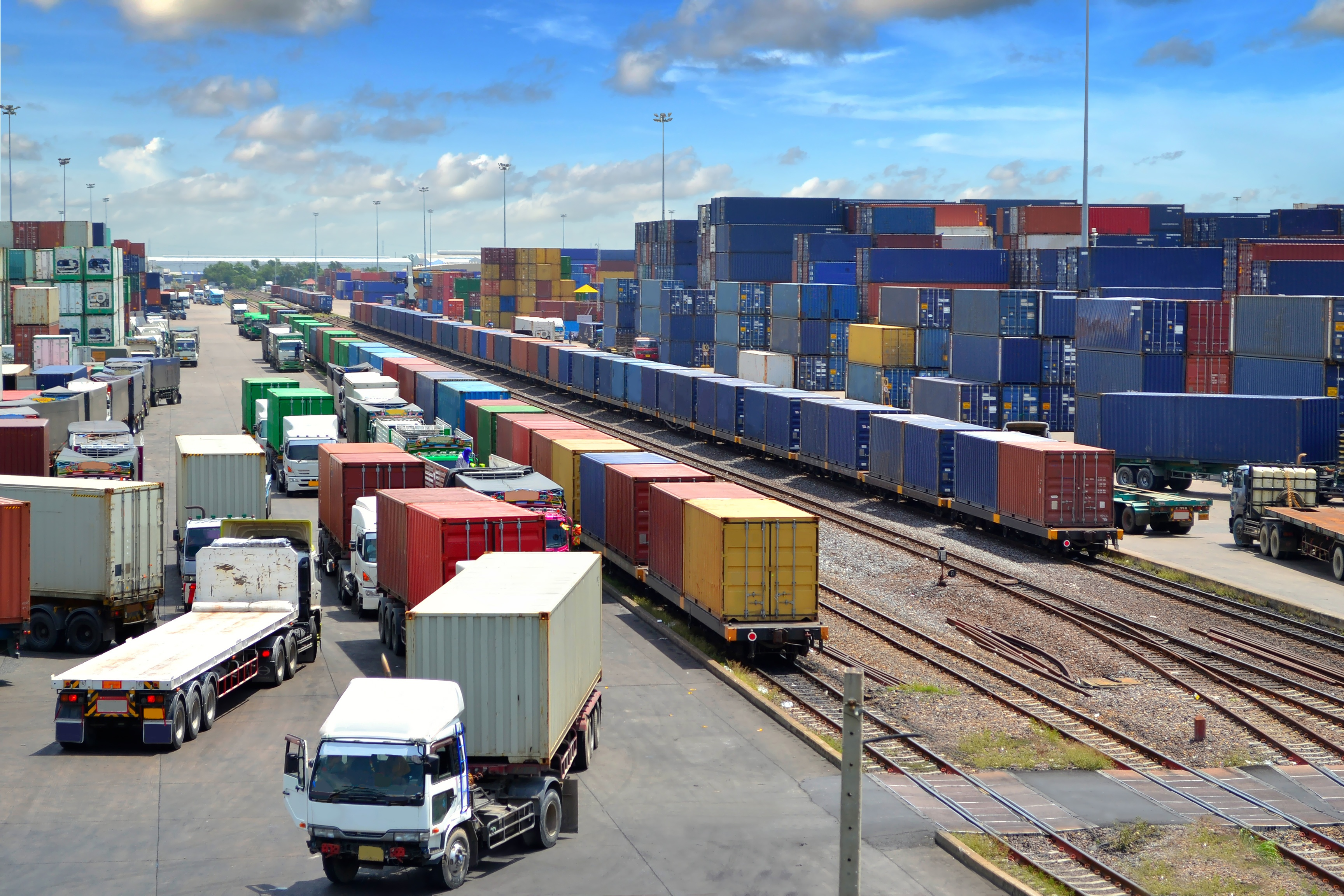 intermodal ramp trains and trucks