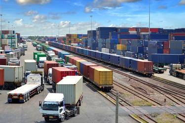 intermodal train and truck