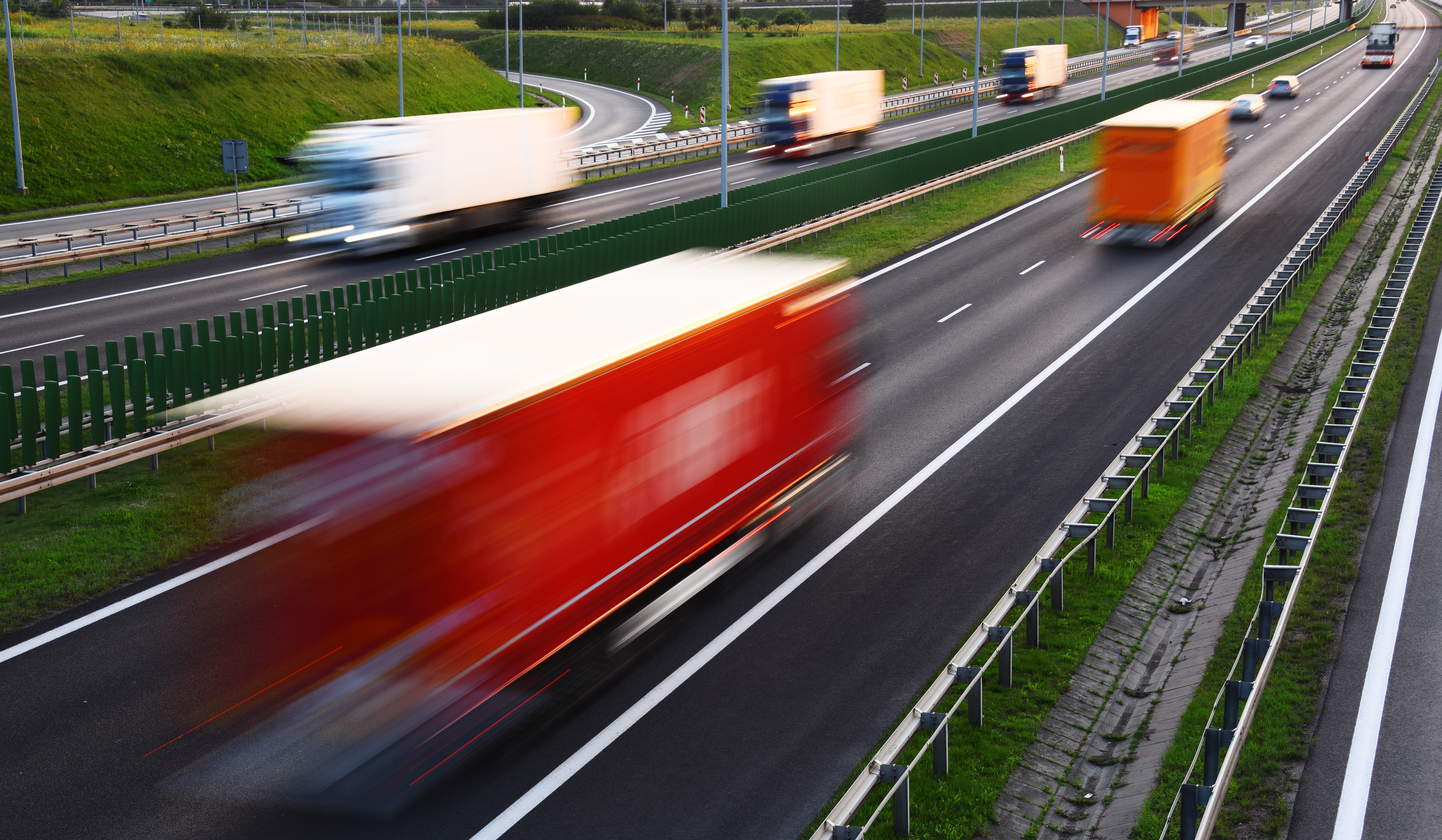 trucks on the move under freight management LSP service